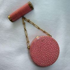 Vintage Pink Shagreen Chagrin French Compact Lipstick