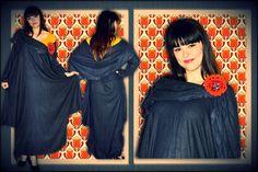 Woolen fabric dress with a crochet pin