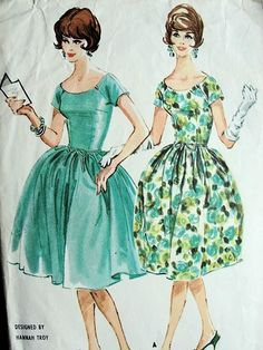 """McCall's 5733; ©1960; Hannah Troy - Misses' Dress. Scoop neck dress with dart fitted bodice and seven-gore """"bubble"""" skirt or four-gore gathered skirt. Short sleeves are raglan at front, cut in one with bodice back, have back gusset. Bubble skirt is pleated in waistline seam which dips at back. Center back zipper closing. Bodice and bubble skirt are lined. One piece gathered petticoat, made on yoke, has grosgrain waistband which is tacked under waistline seam of dress with bubble skirt. Add…"""