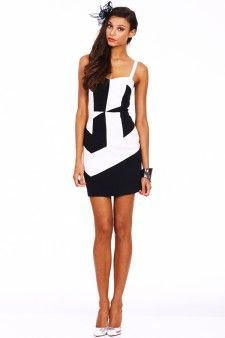 Seduce Early Hours Black and White Dress