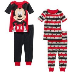 Mickey Mouse Infant Baby Boy Cotton Tight Fit Short Sleeve Pajama Set, 4-Pieces