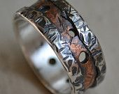 Mens wedding band rustic fine silver and 14K yellow gold ring