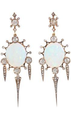 Olivia Collings Antique Jewelry Opal & Diamond Earrings