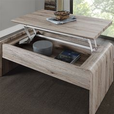 Features:  -Metal hinges lock into place when table top is extended.  -Perfect space to work or eat on.  -Rustic oak finish.  -1 year limited warranty.  -Practical lift top function with hidden storag