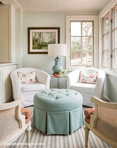 After years of looking for a home that was a perfect fit, this empty-nest couple found a Little Rock cottage that seemed to be an ideal canvas for their beloved collections and creative ideas | The Art of Home | At Home in Arkansas | May 2017 | Kathryn J. LeMaster | Renovation | Sitting Area | White | Blue