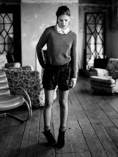 Scotch and soda boots with shorts and blouse
