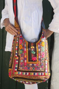 Antique Indian hand embroidery big  shoulder hand bag by AUROBELLE, €60.00