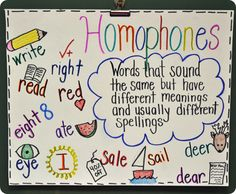 homophones anchor chart...and lots of other wonderful ideas for figurative language charts