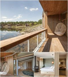 El estudio de arquitectura de Patrick Arotcharen desarrolló el proyecto para el Hotel Les Échasses, con varios eco-bungalows de madera junto a un lago.