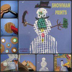 "Corrugated Cardboard Snowmen Prints ("",)"