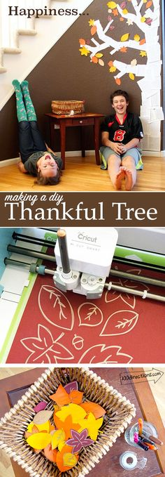 HAPPINESS is. Making a DIY Thankful Tree with your Cricut - designed by Jen Goode. Full tutorial and cut file info. Great project to make with your family and friends for Fall or Thanksgiving. Thanksgiving Tree, Thanksgiving Crafts For Kids, Thanksgiving Decorations, Thanksgiving Graphics, Fall Decorations, Thanksgiving Recipes, Thankful Tree, Tree Stencil, Kindergarten Crafts