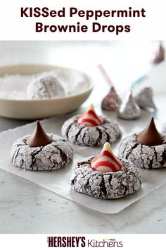 Satisfy your sweet tooth with this KISSed Peppermint Brownie Drops Recipe combining HERSHEY'S Cocoa and HERSHEY'S KISSES Brand Milk Chocolates. Learn how to make this delicious and easy cookie recipe from HERSHEY'S Kitchens.