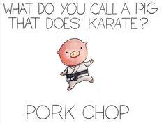 Pork chop funny kid jokes, kid puns, funny cheesy jokes, corny jokes for ki Cute Jokes, Cute Puns, Stupid Jokes, Silly Jokes, Dad Jokes, Funny Cute, Funny Jokes For Kids, Clean Jokes For Kids, Funny Jokes To Tell