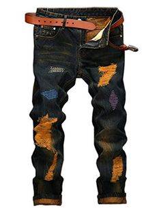 YTD Mens Distressed Ripped Biker Slim Jeans Stretched Mot...