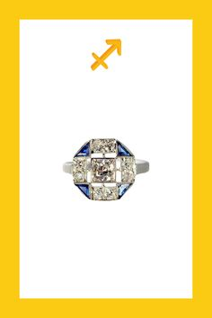 Metier Antique Art Deco 18K White Gold, Sapphire and Diamond Ring, $3,275, available at Metier.