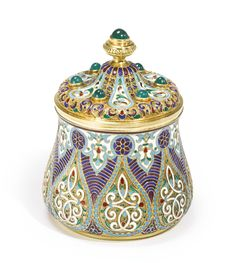 A Russian Gem-Set Gilded Silver and Enamel Box, Antip Kuzmichev, Moscow, 1899-1908 | Lot | Sotheby's