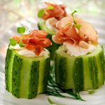 Smoked Trout Mousse in Cucumber Cups