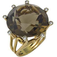 50.00ct Round Cut Brown Topaz Diamond 14k Yellow Gold Cocktail Ring