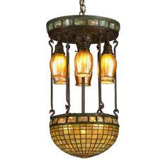 Tiffany Studios glass chandelier in the Moresque/Moorish Turtleback Tile motif. Circa Antique Tiffany Studios lamps for sale at M. Chandelier For Sale, Bronze Chandelier, Lamps For Sale, Glass Chandelier, Modern Chandelier, Chandeliers, Antique Light Fixtures, Antique Lighting, Studio Lamp