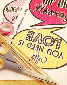 blog what you need for free printable photo booth speech bubble props wedding party by In the Treehouse