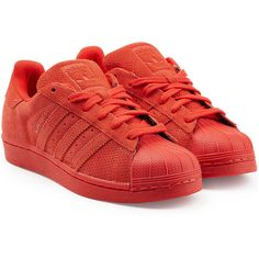 Adidas Originals Leather Superstar Sneakers (€78) ❤ liked on Polyvore featuring shoes, sneakers, adidas, red, leather sneakers, red sneakers, leather lace up sneakers, lacing sneakers и red trainer