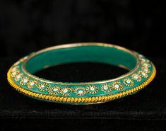Vintage Bangle Bracelet Green and Gold  by DianaKirkpatrickArt, $20.00