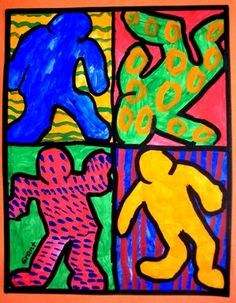 Keith Haring Action Figures - Artsonia Lesson Plan- building up basic shapes to create a simple figure, complimentary color design, and patterns and lines.