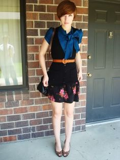 Blouse with Big Bow Vest and Skirt
