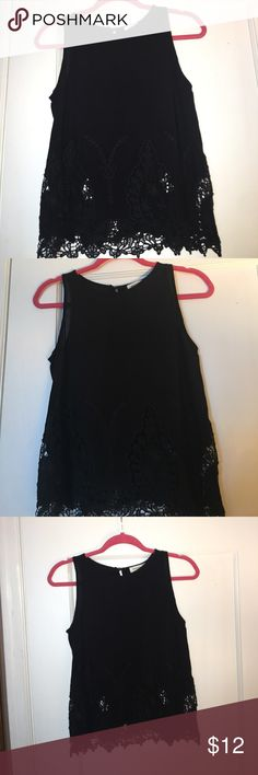 Monteau black embroidered blouse Monteau embroidered sleeveless blouse worn twice Monteau Tops Blouses