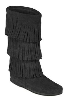 "Minnetonka Women's Black Suede Calf Hi Three Layer Hardsole  Fringe Boot.    Product # 1639    Soft, supple suede leather calf-high boot with 3 layers of fringe and genuine ""moccasin soul"". Slip-on comfort. Thin rubber sole and whip-stitching detail around the toe.    Color: Black Suede    Sizes: 5, 6, 7, 8, 9, 10, 11, 12"