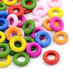 Mixed Color Donut Wood Beads X-TB233Y-1