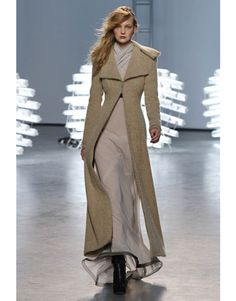 Rodarte's effortless jersey gown with contrasting trim or the dramatic Victorian camel coat.