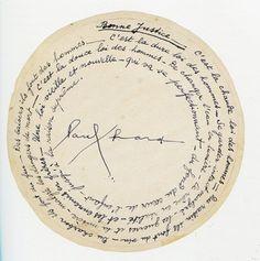 Je viens de découvrir ce poème de Paul Eluard et je m'interroge sur sa forme circulaire. La justice tourne-t-elle en rond? Pas rond? Mystère!