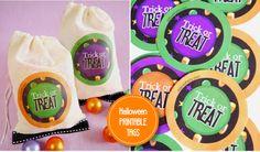 DIY Trick or Treat Muslin Bags tutorial +  FREE Halloween Printables! by Bird's Party  #halloween #partyideas #freeprintables #printables