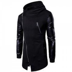 Men's Casual Fashion Zipper PU Stitching Hoodie