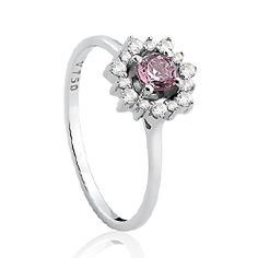 Anel Ouro Branco Diamantes e Turmalina Rosa Olympia