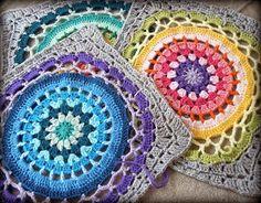 free crochet pattern daisy center mandala square