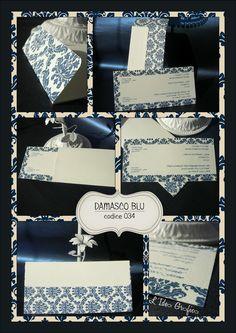 DAMASCO BLU - codice 34 #wedding #stationery #invitation