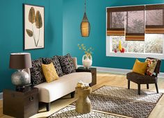 This is the project I created on Behr.com. I used these colours: BERMUDAN BLUE(PPU13-18),CALYPSO BLUE(HDC-CL-27),CARIBE(PPU13-1),SOPHISTICATED TEAL(HDC-CL-22),