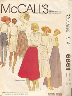Vintage Sewing Pattern - 1979 Misses Skirts, McCall's 6861 Size 6 Waist 23