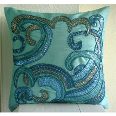Handmade Aqua Blue Decorative Pillow Cover, Sequins & Beaded Beach And Ocean Theme Pillows Cover Square Silk Pillows Cover - Tides Blue Throw Pillows, Throw Pillow Cases, Gold Throw, Pillow Cover Design, Decorative Pillow Covers, Blue Art, Aqua Blue, Blue Bedroom Decor, Silk Pillow