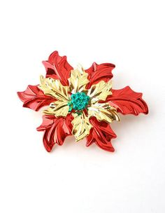 Poinsettia Pendant Pin Christmas Jewelry Holiday Winter Flower Red Green Gifts #DavenportDesigns #DualFunction