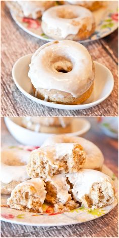 Baked Cinnamon Bun Donuts with Vanilla Cream Cheese Glaze - When a cinnamon roll meets a donut on the way to the oven, this is what you get! Soft, fluffy, easy donuts that are ready in 10 minutes!