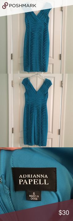 """Adrianna Papell Ocean Blue Dress Beautiful form-fitting ruched dress. Worn once, excellent condition. Dry clean only. Approximately 40"""" from shoulder to hem. I'm 5'5"""", and this hits me right below the knee. Adrianna Papell Dresses"""