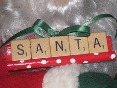 SANTA Scrabble Tile Ornament by ChatterboxBeach on Etsy, $7.99