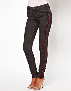 ASOS Skinny Jeans in Oil Wash with Embroidered Side Panel