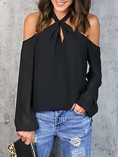 Color:Black/Blue/Hot Pink Pattern:Plain Neckline:Halter Neck Material:Polyester Style:Fashion/Casual SleeveLength:Long Sleeve Package Include: Top Note: There might be difference accordi. Trend Fashion, Latest Fashion Clothes, Fashion Outfits, Fashion Women, Style Fashion, Woman Outfits, Fashion Ideas, Off The Shoulder Top Outfit, Pencil Skirt Outfits