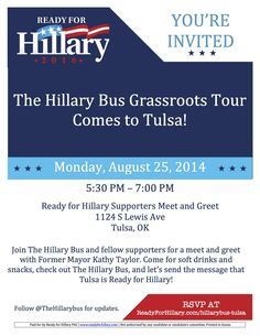 @TheHillaryBus is coming to Tulsa on Monday evening! Are YOU #ReadyForHillary? pic.twitter.com/vmdVr9poXK