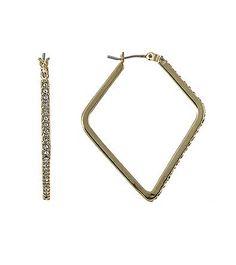 Lauren Ralph Lauren Goldtone Large Pave Hoop Earrings | Bon-Ton