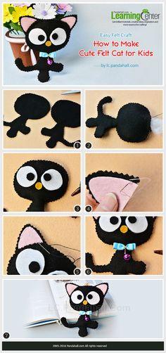 Easy Felt Craft- How to Make Cute Felt Cat for Kids from LC.Pandahall.com